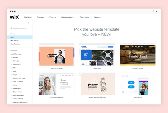 Wix has hundreds of amazing templates